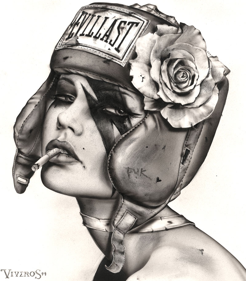READY-TO-RUMBLE-14x14-charcoal,ink,airbrush-on-board_Year-2014