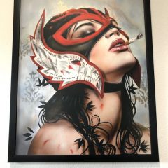 LUCHA VIVEROS – RARE ONE-OFF HAND EMBELLISHED MOUNTED PRINT 2012 – SOLD OUT